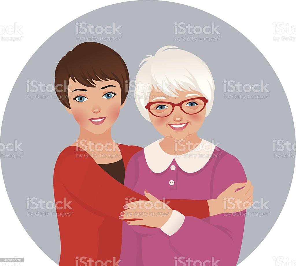 Elderly mother and adult daughter vector art illustration