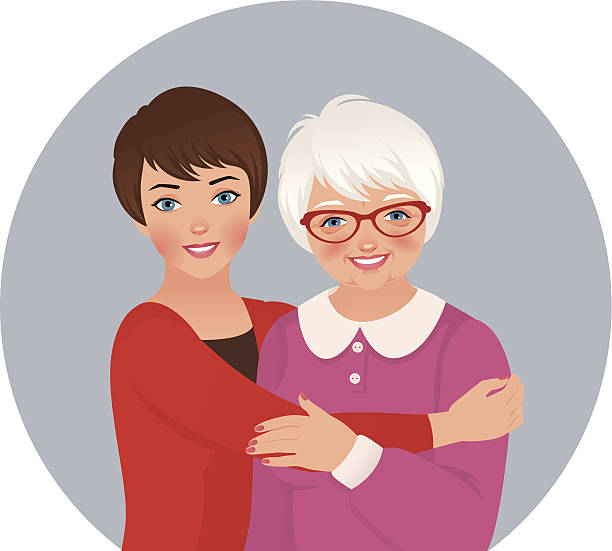 Elderly mother and adult daughter vector art illustration