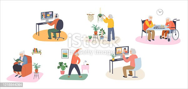 Elderly, old people, senior people at home, playing chess, chatting on computer with grandchildren, reading books, working out,, learning languages. Vector illustration, cartoon set - the 2020 coronavirus series