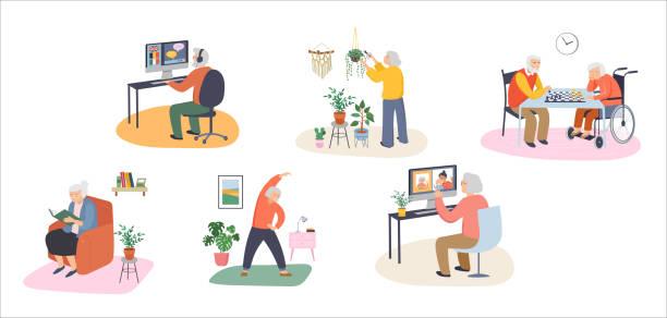 ilustraciones, imágenes clip art, dibujos animados e iconos de stock de ancianos, ancianos, personas mayores en casa, jugando ajedrez, charlando en computadora con nietos, leyendo libros, haciendo ejercicio, aprendiendo idiomas. ilustración vectorial, conjunto de dibujos animados - nietos