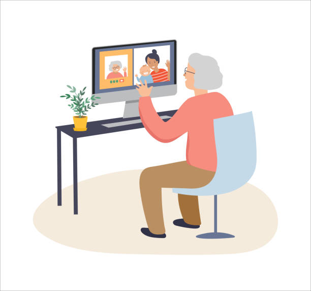 Elderly, old people, senior people at home, playing chess, chatting on computer with grandchildren, reading books, working out, learning languages. Vector illustration, cartoon set Elderly, old people, senior people at home, playing chess, chatting on computer with grandchildren, reading books, working out,, learning languages. Vector illustration, cartoon set - the 2020 coronavirus series video call stock illustrations