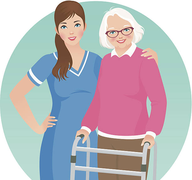 elderly patient and a nurse - nursing home stock illustrations
