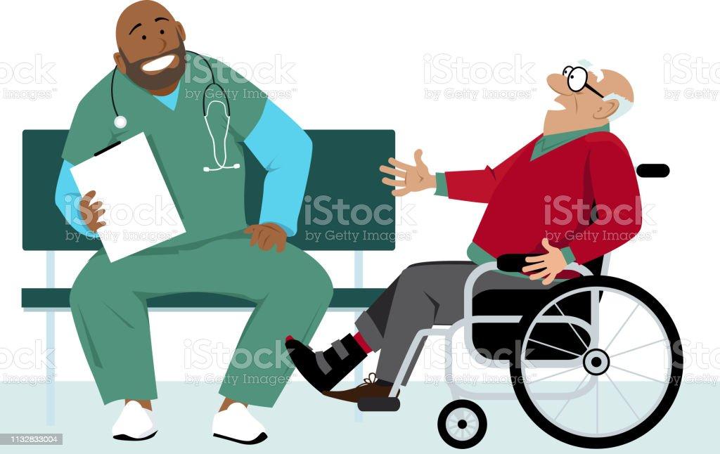 Visita de pacientes ancianos - ilustración de arte vectorial