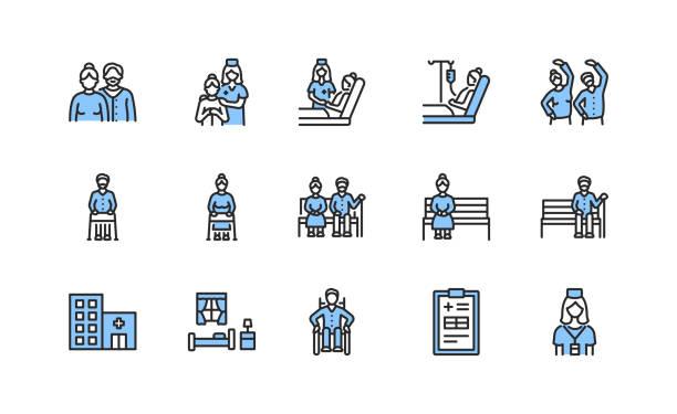 illustrations, cliparts, dessins animés et icônes de les personnes âgées et les icônes de ligne plate désactivées placent la couleur bleue. illustration vectorielle s'occupant des personnes âgées. maison de soins infirmiers et service de soins palliatifs. traits modifiables - aide soignant