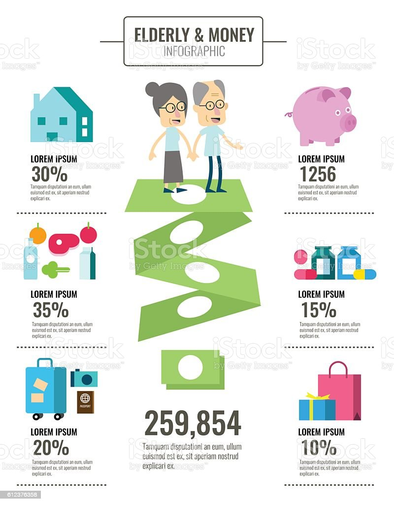 Elderly people and money saving info graphics. vector art illustration