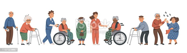 Elderly people and social workers. Grandparents and nurses on a white background. Vector illustration in a flat style