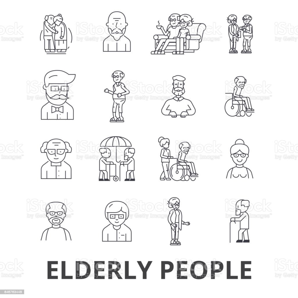 Elderly people, care, elderly couple, old people, elderly patient, support line icons. Editable strokes. Flat design vector illustration symbol concept. Linear signs isolated vector art illustration