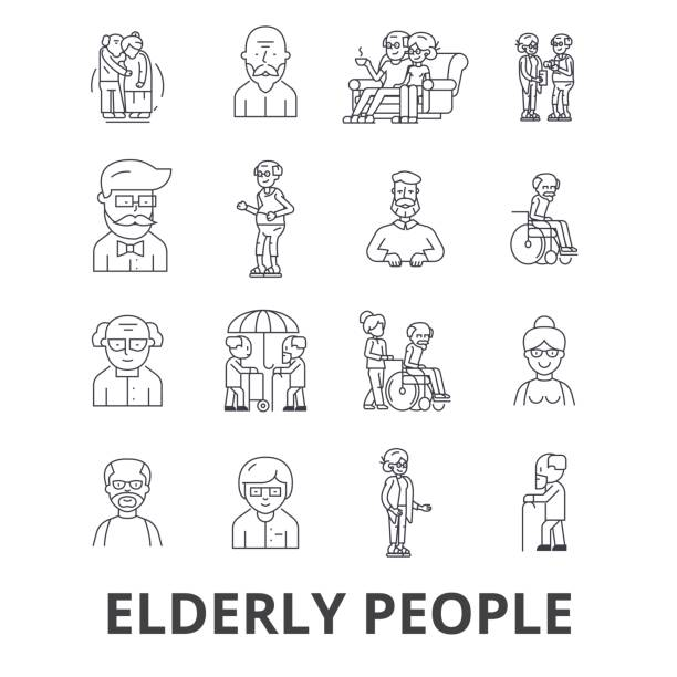 elderly people, care, elderly couple, old people, elderly patient, support line icons. editable strokes. flat design vector illustration symbol concept. linear signs isolated - geriatrics stock illustrations, clip art, cartoons, & icons