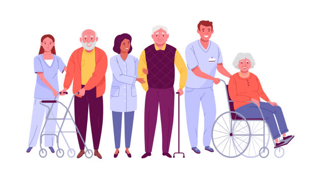 Elderly people care. Vector illustration of senior men and women with assistive devices and nurses helping them. Isolated on white. old stock illustrations