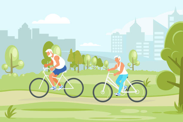 elderly people characters cycling in the city park. - old man on bike stock illustrations, clip art, cartoons, & icons
