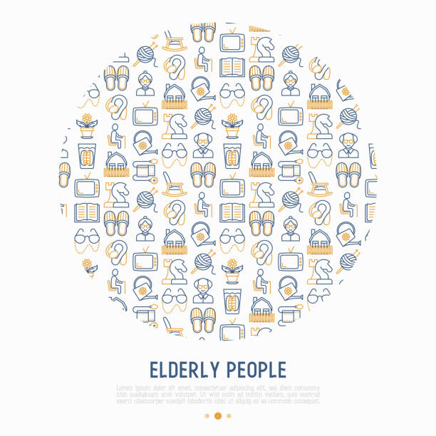 elderly people concept in circle with thin line icons: grandmother, grandfather, glasses, slippers, knitting, rocking chair, hearing aid, flowers, reading, false jaw. modern vector illustration. - old man slippers stock illustrations, clip art, cartoons, & icons