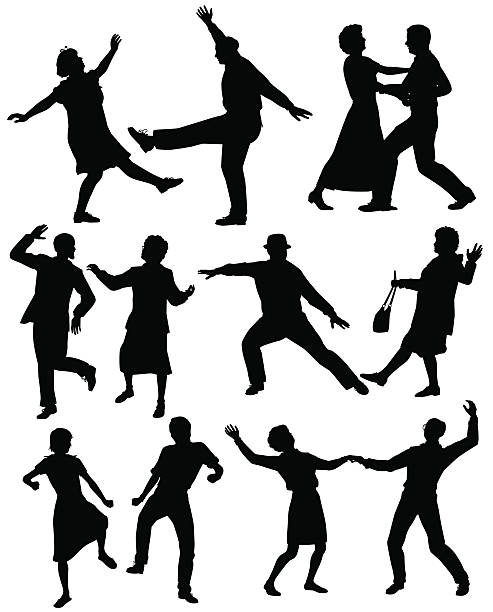 Elderly people dancing vector art illustration