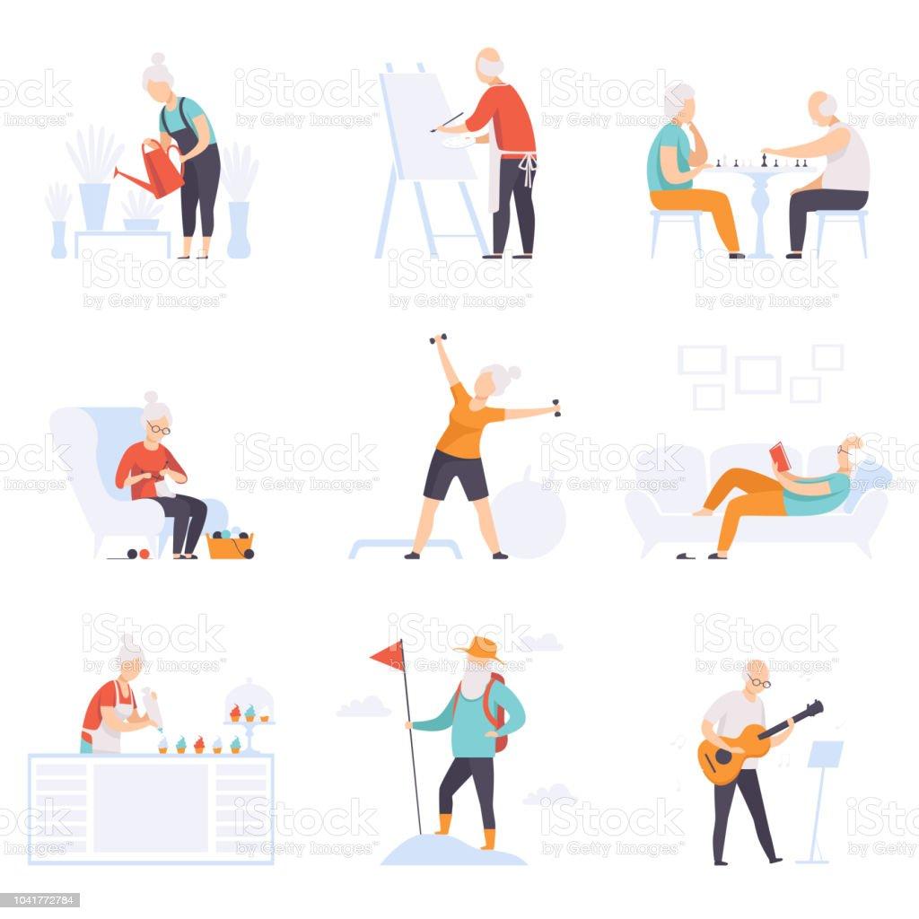 Ältere Menschen genießen Sie verschiedene Hobbys, vector leitende Männer und Frauen führen ein aktives Leben Soziales Konzept Illustration auf weißem Hintergrund – Vektorgrafik