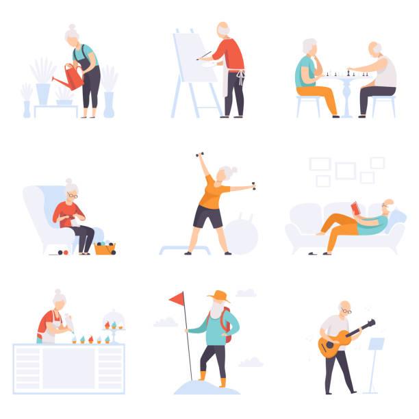 ilustrações, clipart, desenhos animados e ícones de pessoas idosas, desfrutando de vários hobbies, sênior homens e mulheres levando um conceito social de estilo de vida ativo vector illustration sobre um fundo branco - aposentadoria