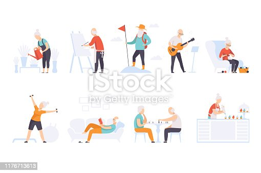 Elderly people enjoying various hobbies, senior men and women leading an active lifestyle social concept vector Illustration isolated on a white background.