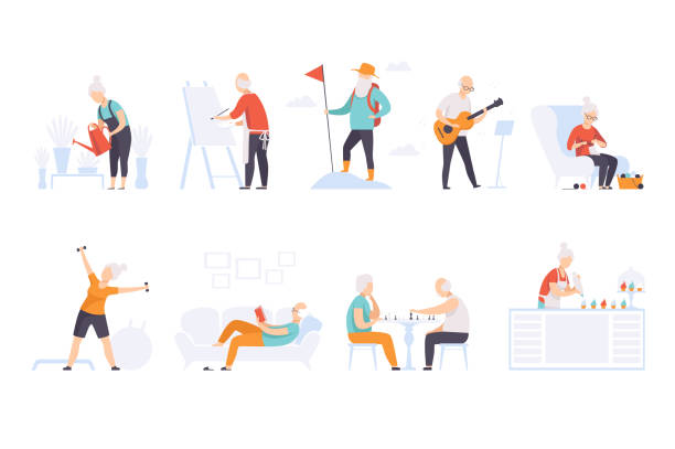 Elderly people enjoying various hobbies, senior men and women leading an active lifestyle social concept vector Illustration on a white background Elderly people enjoying various hobbies, senior men and women leading an active lifestyle social concept vector Illustration isolated on a white background. hobbies stock illustrations