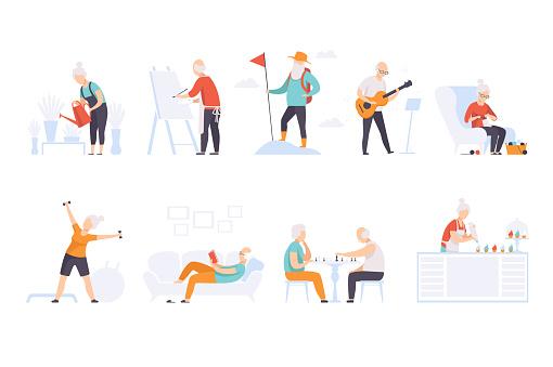 retirement lifestyle stock illustrations