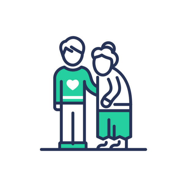 ilustrações, clipart, desenhos animados e ícones de idosos pessoas ajuda - ícone de linha do vetor moderno. - idoso