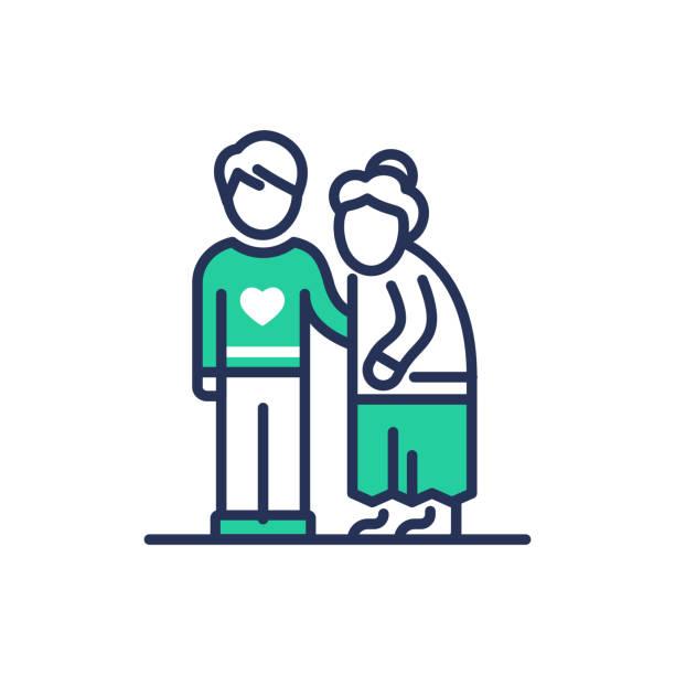 elderly people help - modern vector line icon. - starsi mężczyźni stock illustrations