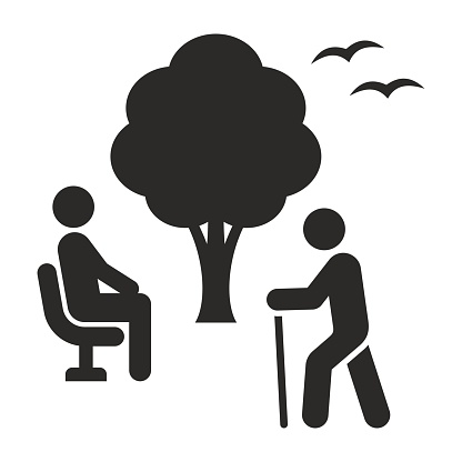 Elderly people icon. Retirement. Old friends sitting in the park. Care and support.