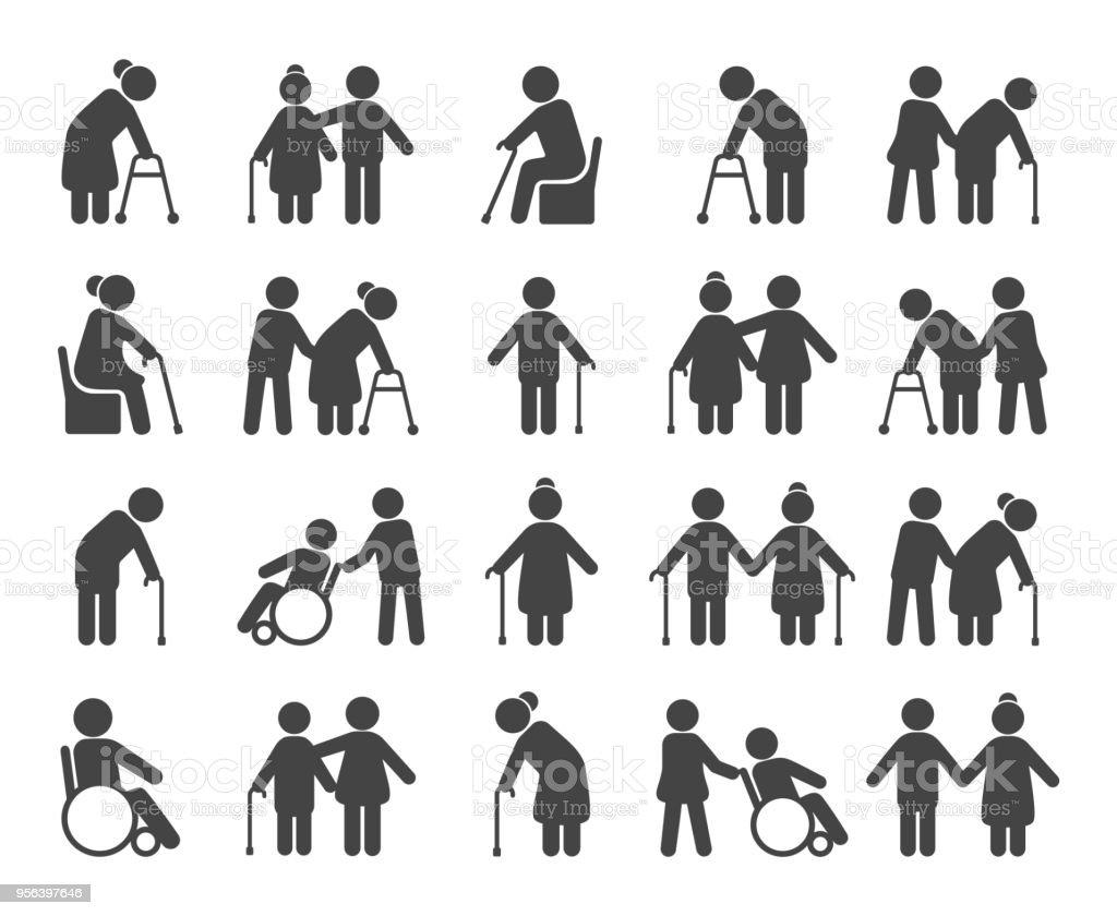 Elderly people icon set vector art illustration