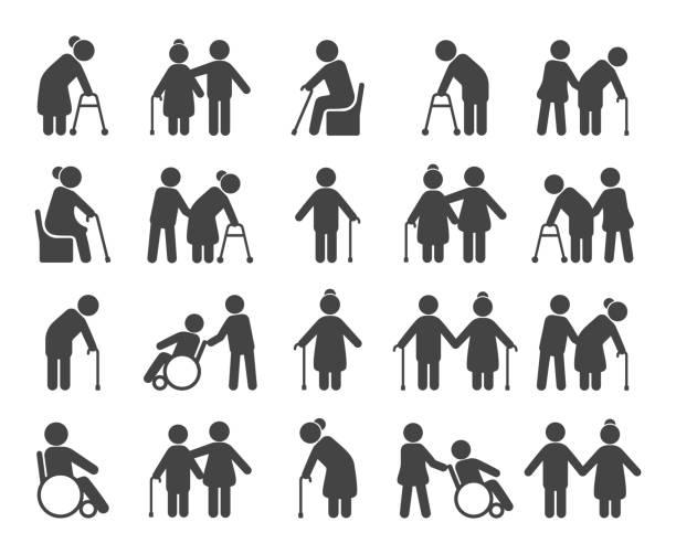 stockillustraties, clipart, cartoons en iconen met ouderen pictogramserie - sociale dienst