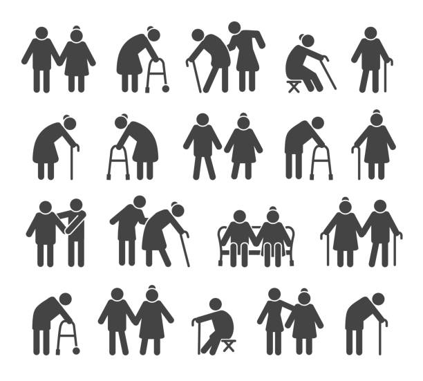 Elderly people icons Elderly people icons. Aged or senior man signs, retired silhouettes vector illustration wicker stock illustrations