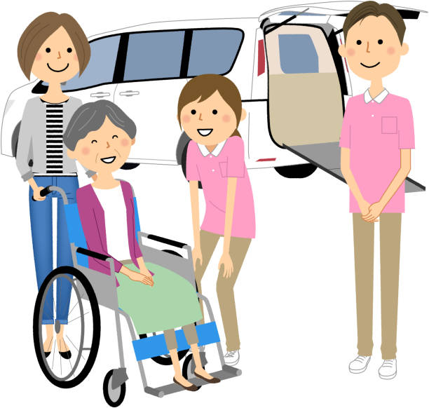 Elderly people in wheelchairs, nursing staff and welfare vehicles - illustrazione arte vettoriale