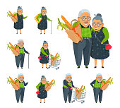 Keep a paper sack, point a finger, smiling. Aged family couple together in a grocery store.