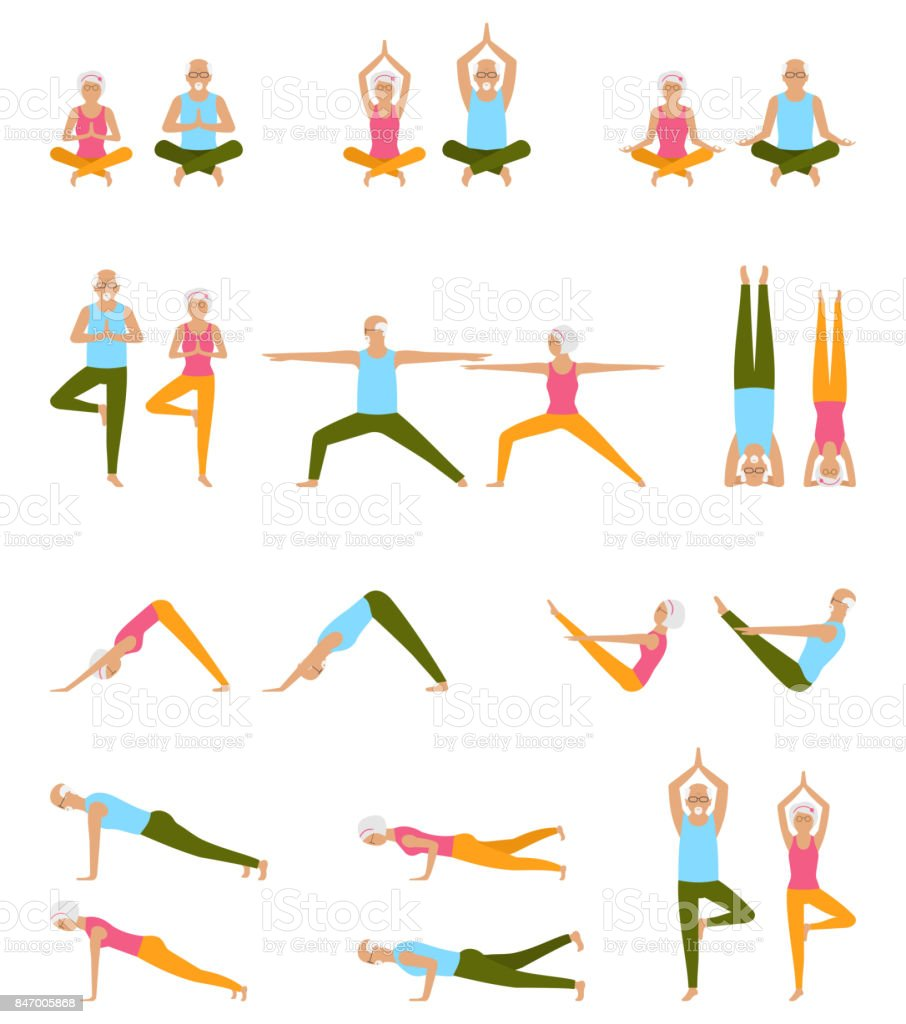 Elderly People Practice Yoga. Set of Asanas. Relax and Meditate. Healthy Pension Lifestyle vector art illustration