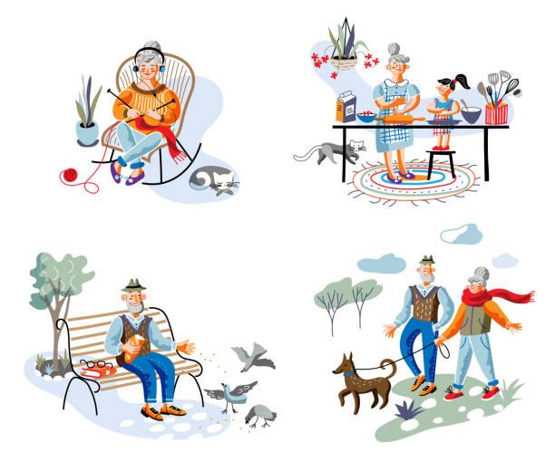 ilustrações de stock, clip art, desenhos animados e ícones de elderly people rest and daily activity scene set - baking bread at home