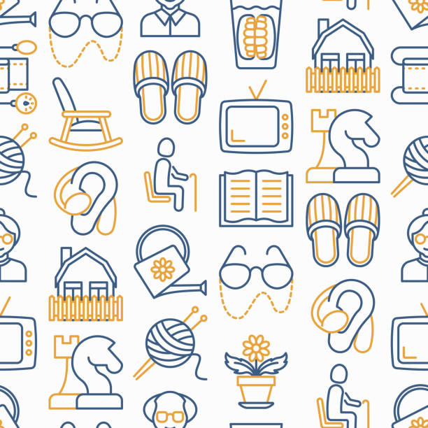 Elderly people seamless pattern with thin line icons: grandmother, grandfather, glasses, slippers, knitting, rocking chair, hearing aid, flowers, reading, false jaw, chess. Modern vector illustration for banner, print media, web page template. vector art illustration