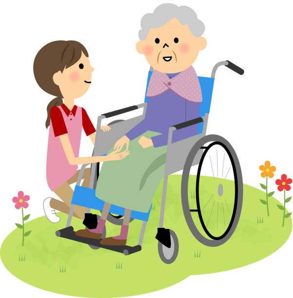 車椅子に座っている高齢者 - 介護点のイラスト素材/クリップアート素材/マンガ素材/アイコン素材