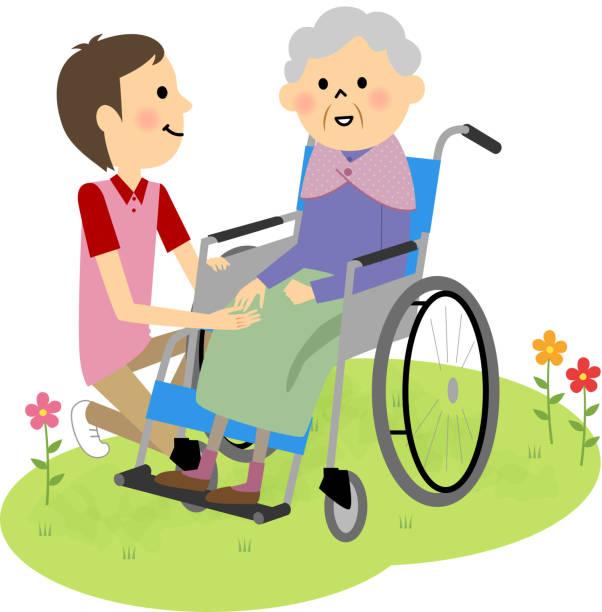 elderly people sitting in a wheelchair - проживание с уходом stock illustrations