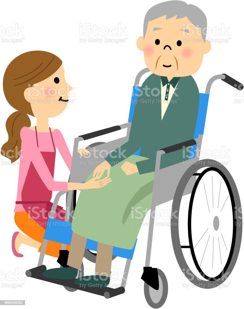 車椅子に座っている高齢者 ベクターアートイラスト