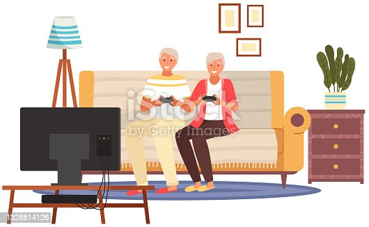 istock Elderly people sitting on couch and holding joysticks in their hands. Old people with technology 1328814126