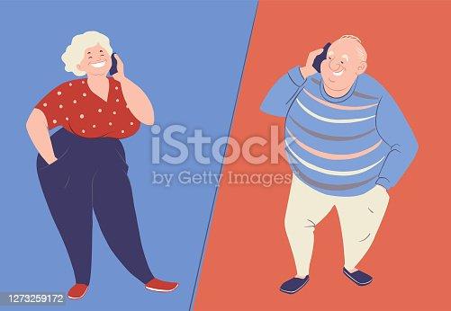 istock Elderly people talking with smartphones. Senior persons cartoon vector characters 1273259172