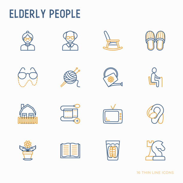 elderly people thin line icons set: grandmother, grandfather, glasses, slippers, knitting, rocking chair, hearing aid, flowers, reading, false jaw, chess. modern vector illustration. - old man shoes stock illustrations, clip art, cartoons, & icons