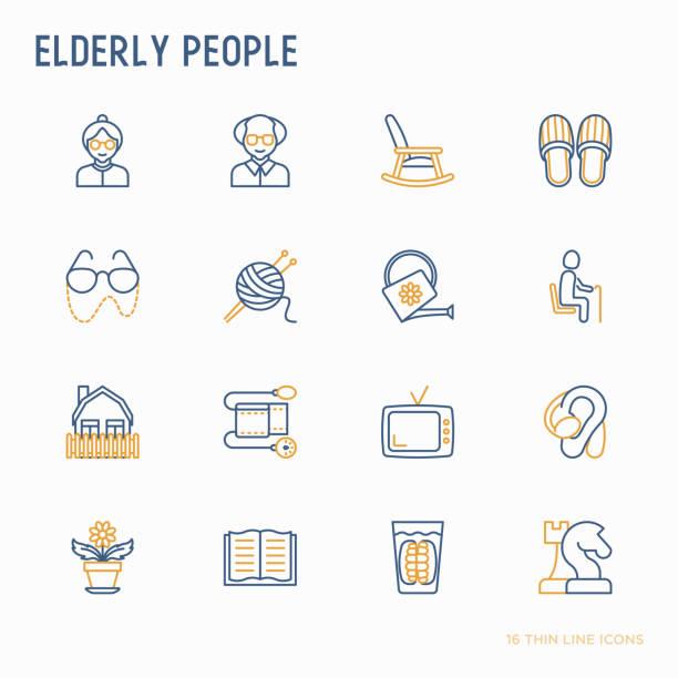elderly people thin line icons set: grandmother, grandfather, glasses, slippers, knitting, rocking chair, hearing aid, flowers, reading, false jaw, chess. modern vector illustration. - babka dziadek i babcia stock illustrations