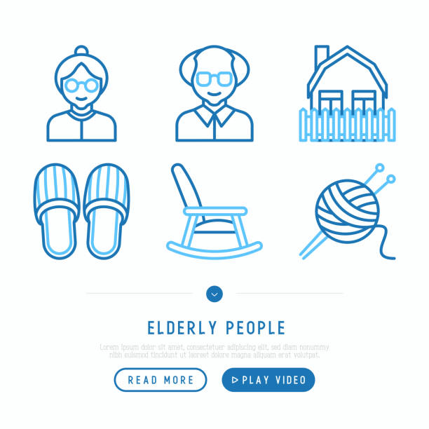 elderly people thin line icons set: grandmother, grandfather, slippers, knitting, rocking chair, house. modern vector illustration - old man shoes stock illustrations, clip art, cartoons, & icons