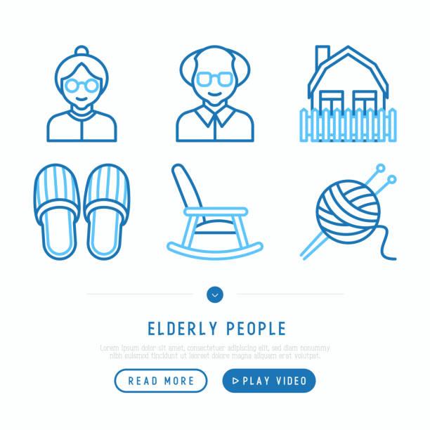 ilustraciones, imágenes clip art, dibujos animados e iconos de stock de conjunto de iconos de línea delgada de personas mayores: abuela, abuelo, zapatillas, tejer, mecedora, casa. ilustración de vector moderno - abuelo