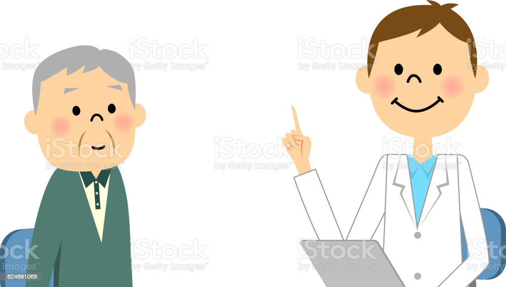 Elderly people to consult vector art illustration