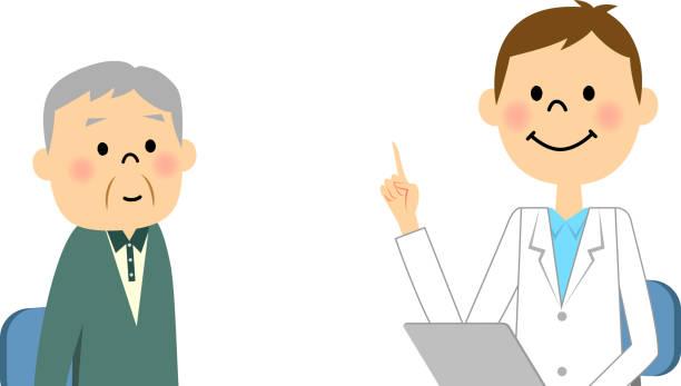 elderly people to consult - 診察室点のイラスト素材/クリップアート素材/マンガ素材/アイコン素材