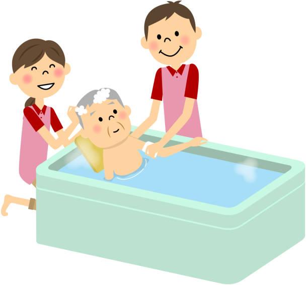 bildbanksillustrationer, clip art samt tecknat material och ikoner med äldre människor att ta ett bad, omvårdnad - japanese bath woman