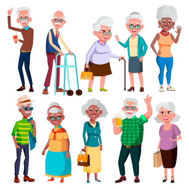 elderly people vector. grandfather and grandmother. face emotions. happy people. poses. black, afro american, european. isolated flat cartoon illustration - babka dziadek i babcia stock illustrations