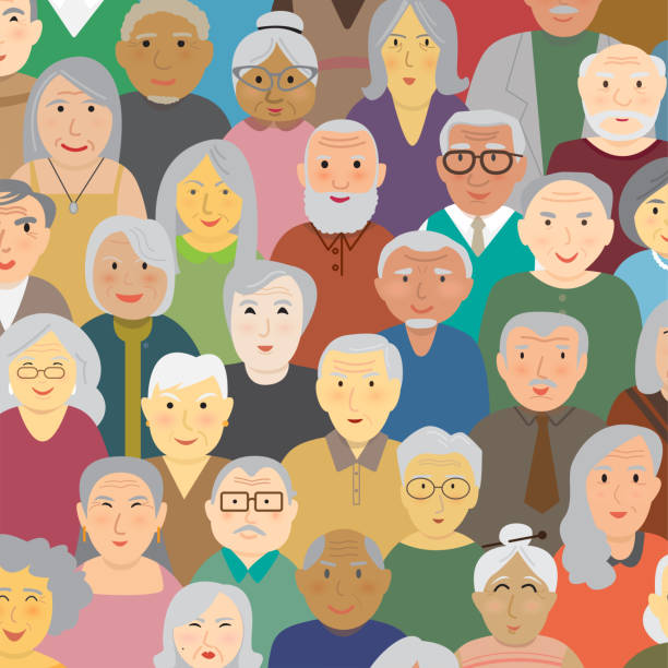 elderly people - old man standing background stock illustrations, clip art, cartoons, & icons