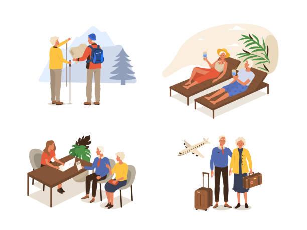 ilustrações, clipart, desenhos animados e ícones de pessoas idosas - aposentadoria