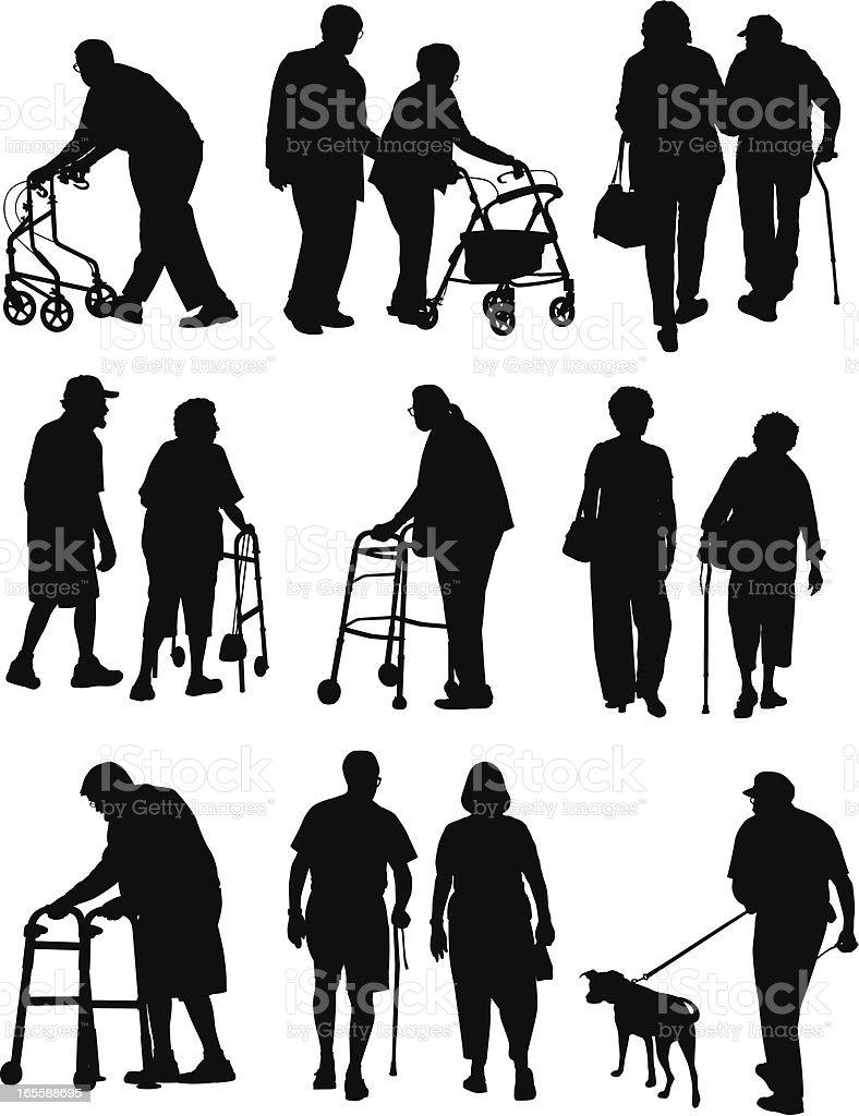 Elderly People vector art illustration