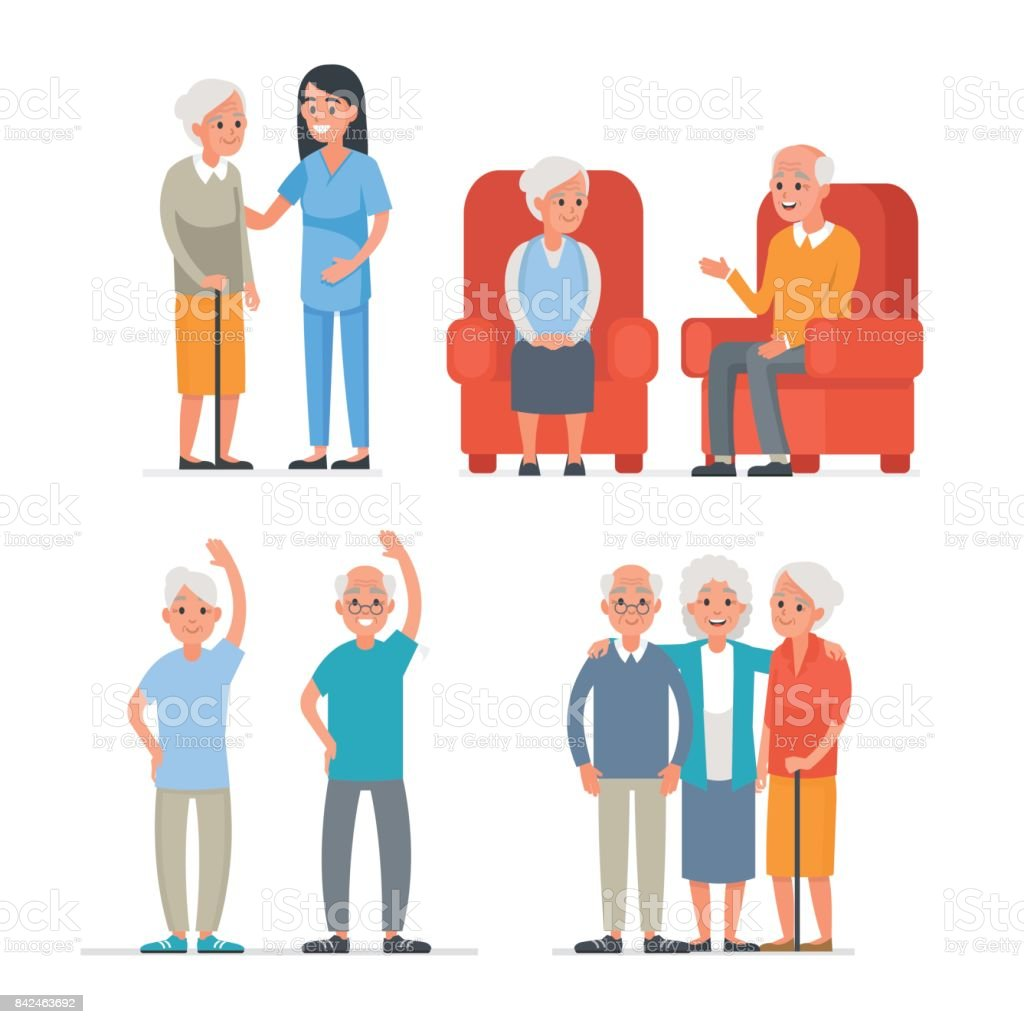 Elderly people vector art illustration
