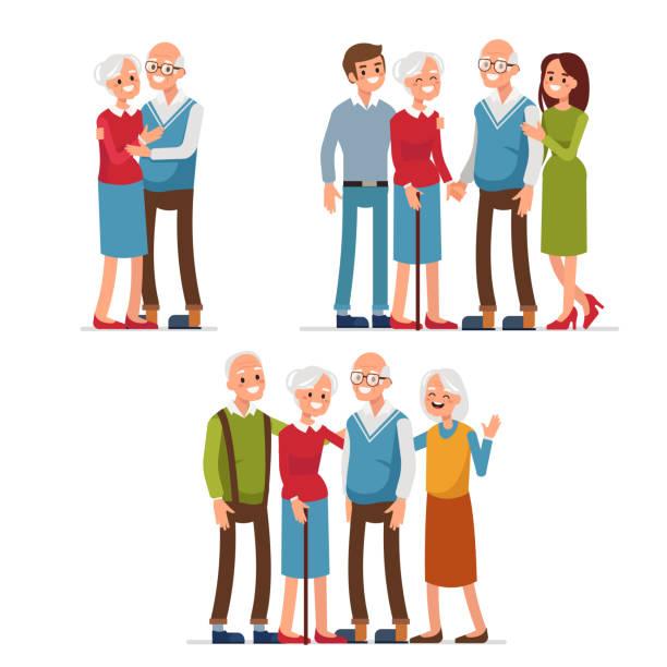 illustrazioni stock, clip art, cartoni animati e icone di tendenza di elderly people - grandparents